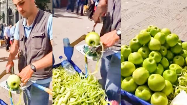 WATCH- Video of man peeling apples will grapple your mind - The Indian Express