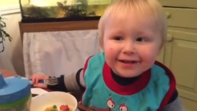 Funny Toddler Thinks Hes Lost His Fork & Has His Family Bursting Into Laughter