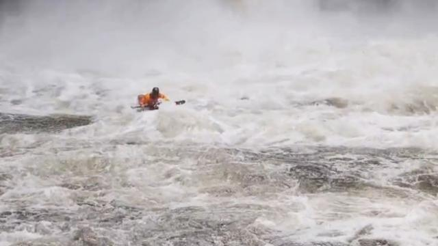 Brit kayaker performs unbelievable waterfall stunts