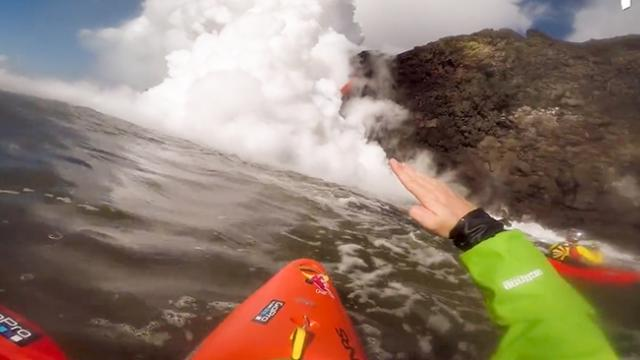 Adventurous Kayakers Get Close To A Lava Waterfall And The Moment Is Amazing