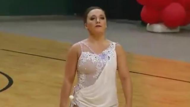 "Baton Twirler's ""Amazing Grace"" Routine Has Crowd Going Wild Just 20 Seconds In."