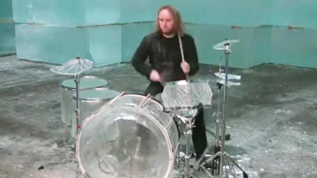Hellacopters drummer trashes ice drum set