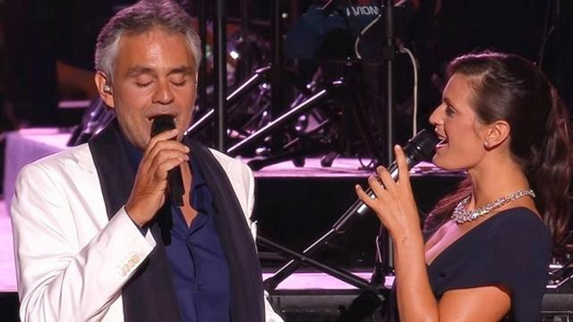 Andrea Bocelli sings with beautiful wife romantic duet so heavenly moves audience to tears