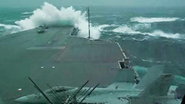 USS Kitty Hawk Braving A Storm Will Make You Sick Just Watching