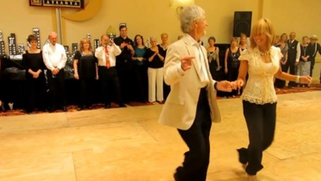 Two Seniors Step On The Dance Floor, When The Music Starts Everyone Is Baffled