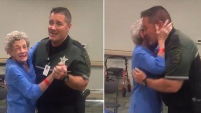 Deputy Sings And Dances With Scared Woman In Shelter During Hurricane