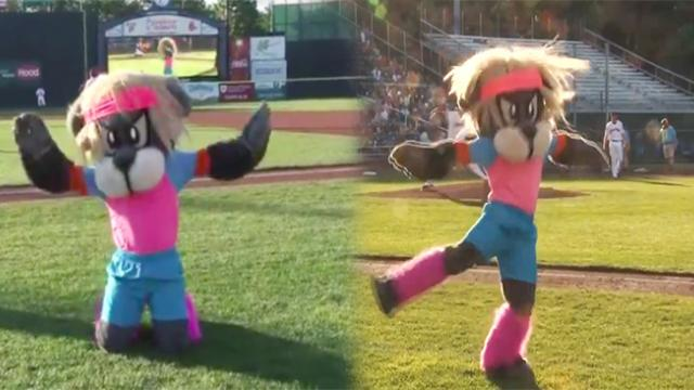 "Minor League Mascot Recreates Epic ""Dirty Dancing"" Lift With Lawn Guy."