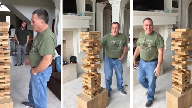 Watch Dad Successfully Pull Out a Single Middle Block of Jenga