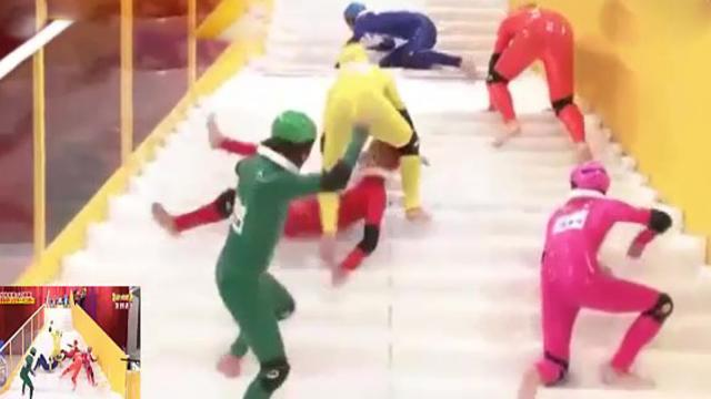 Slippery stairs – this is how Japanese take their game show