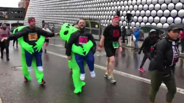 Some of the amusing costumes at the Birmingham Marathon