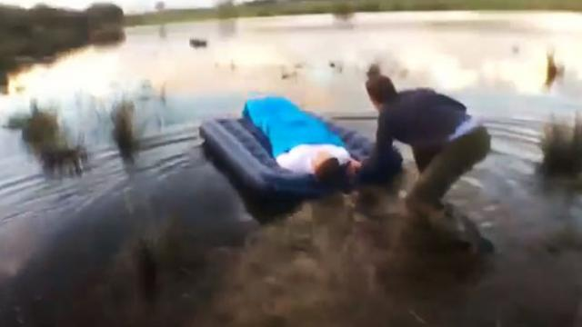 Pushing sleeping friend into lake prank