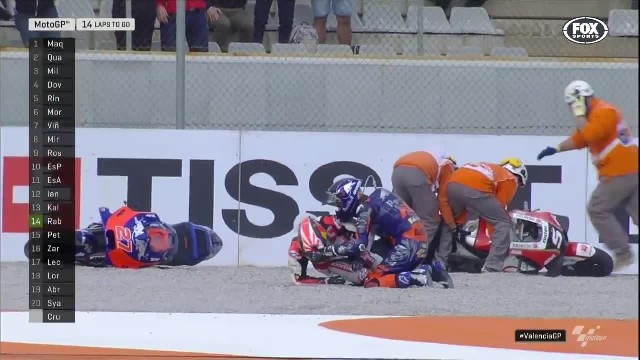 El impresionante atropello a un piloto de MotoGP en un accidente triple