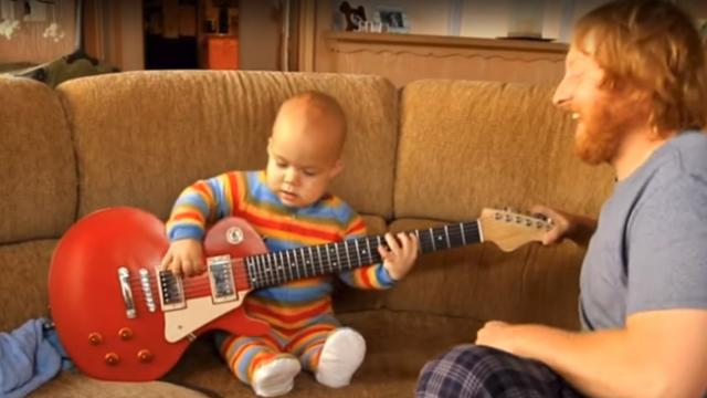 This Baby SHREDS This Guitar. Watch Out Eddie Van Halen!