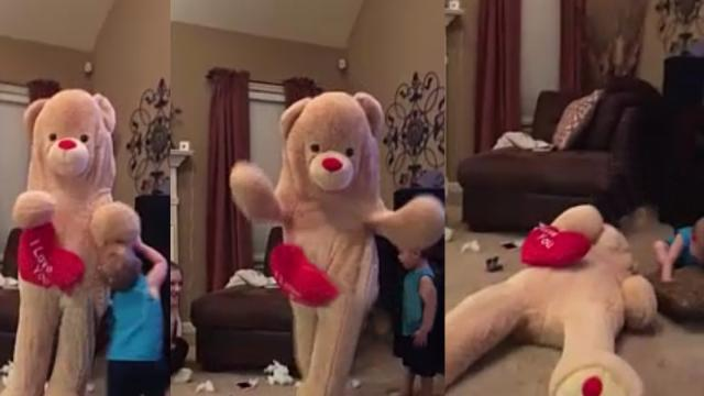 Laugh to tears with teddy bear prank ending in fail
