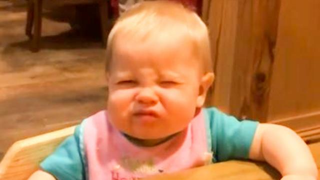 Funny babies' reactions when they try sour food for the first time