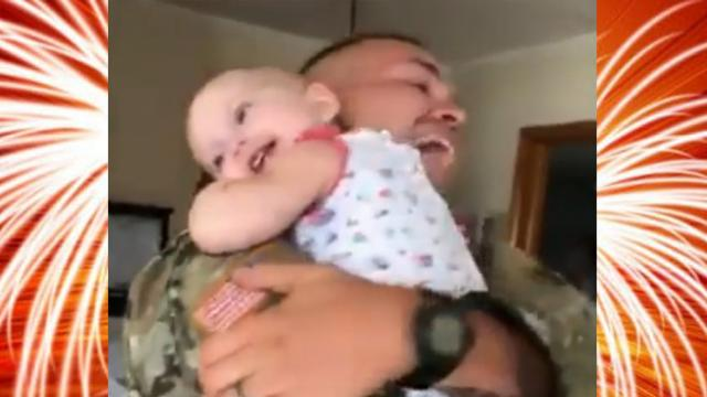 Baby Overjoyed at the Sight of Father Returning From Training (2)