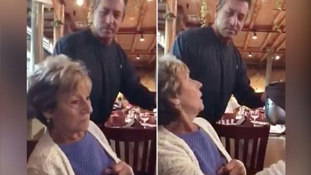 Lady is confused when 'waiter' asks if she'd like more