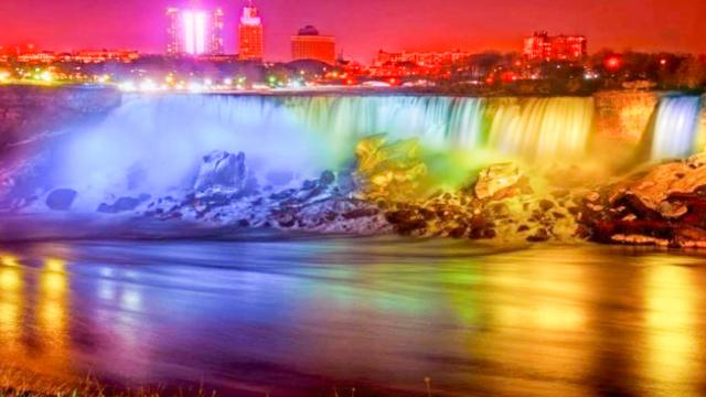 Beautiful nature colorful waterfall travel lovers want to visit the natural sight immediately