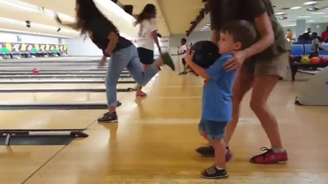 Funny Toddler Does Victory Dance On The Bowling Lane
