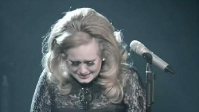 Adele starts singing her classic – but then she suddenly sees