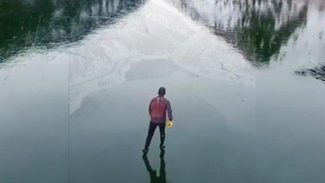 video 03 This ice skater's drone footage of a frozen lake will hypnotise you