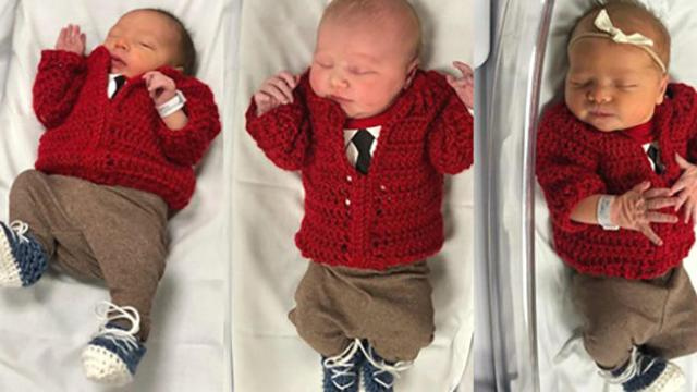 Newborn babies at Pittsburgh hospital dressed up as Mister Rogers