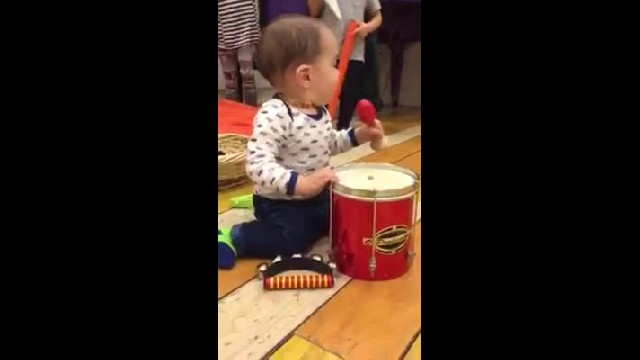 baby Eric playing the drums and jokes hes joining One Direction