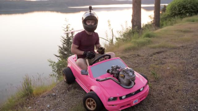 Real Engine in a Barbie Car!
