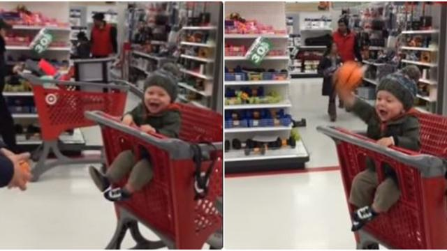 Dad started a game at Target, in seconds baby and Mom burst out laughing.