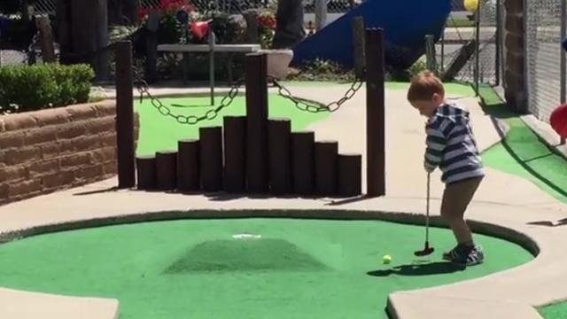 Frustrated Mini Golfer Throws Tantrum On The Course