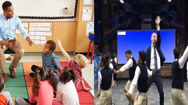 A cute elementary teacher singing and dancing made the whole class excited, rush to follow