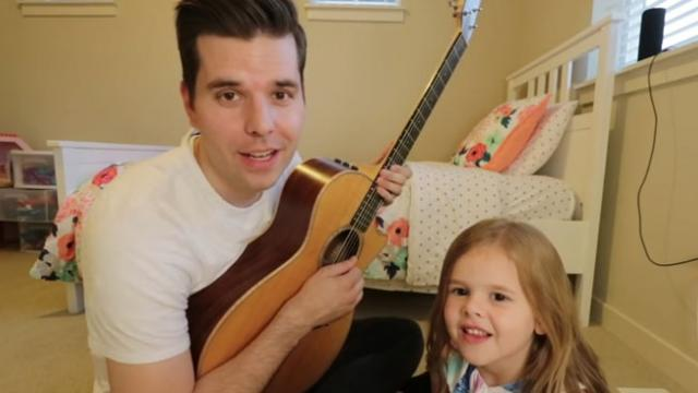 5-year Old Claire and Dad Sing Meant to Be