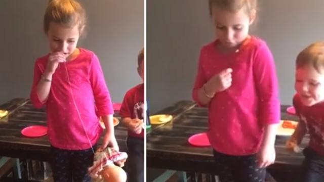 Pesky Little Brother Yanks Sisters Tooth Out When She Hesitates
