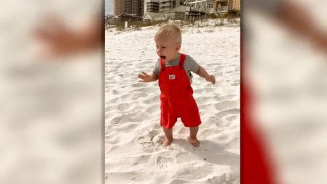 Toddler's Adorable First Reaction To The Beach
