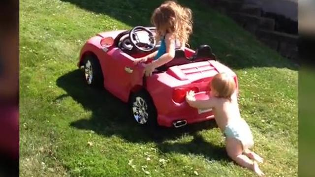 Super Strong Baby Can Push a Car