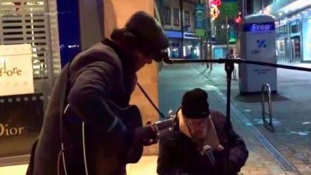 Homeless Man Asks Street Musician If He Can Sing With Him  His Voice Leaves Onlookers Speechless