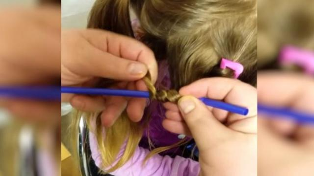 Dad Wraps Daughters Hair Around Drinking Straws Now Watch Him Reveal Stunning New Look