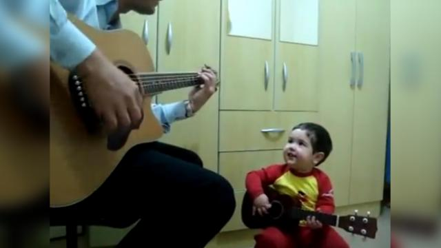 Two Year Old Performs Dont Let Me Down With Dad