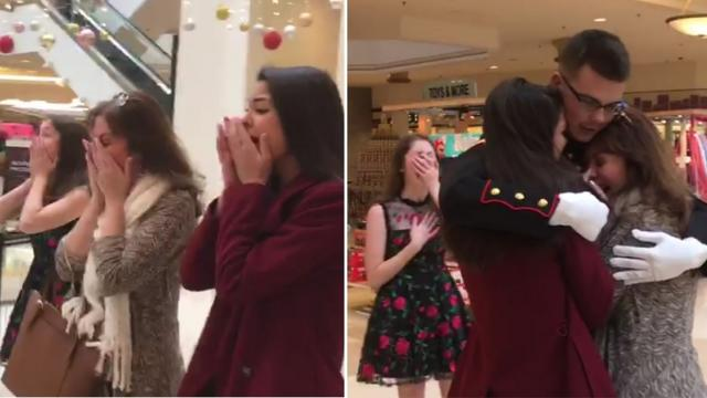 Family in Tears When Marine Son Surprises Them at Mall for