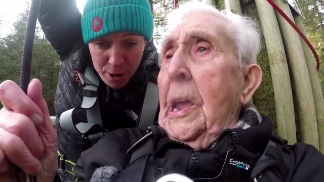 106 Year Old Jack's Record Breaking Zip Line Ride! - Good Morning Britain