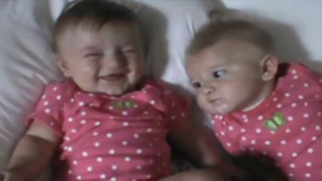 Baby Won't Stop Making Silly Sound & It Has Twin Sister Cracking Up.