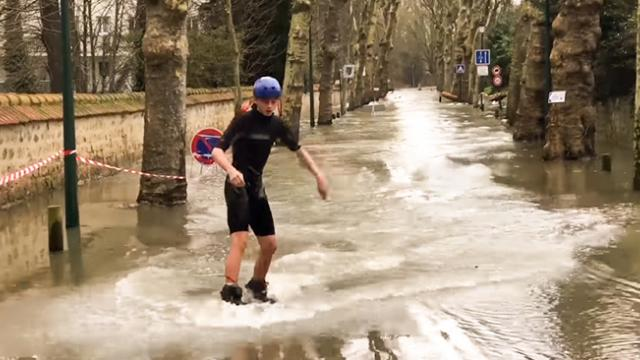 Parisians Go Wake-Boarding in Floods - Storyful Video