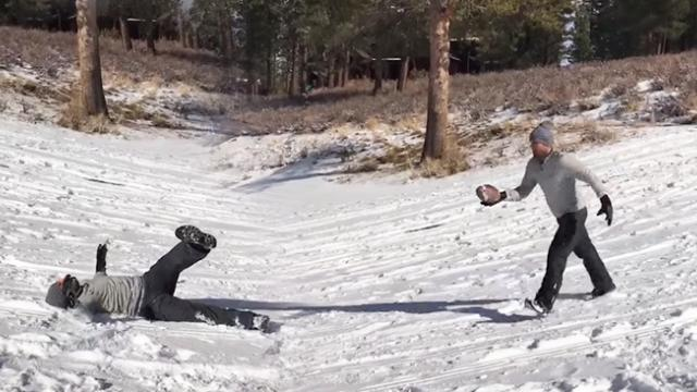 Actor Gives American Football an Attempt in Snow