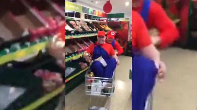 Super Mario Kart in the supermarket!