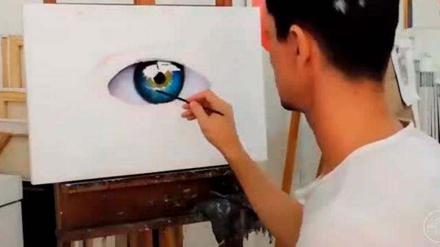 Beautiful Timelapse Of Artist Painting A Realistic Eye
