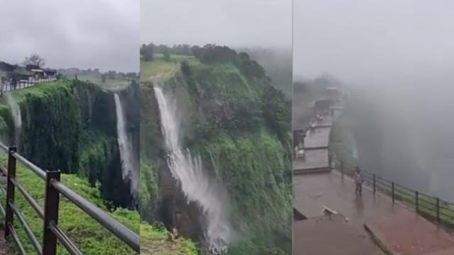 Breathtaking moment wind blows waterfall upwards  Feedy TV