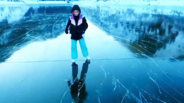 VIDEO- This ice skater's drone footage of a frozen lake will hypnotise you - The Indian Express