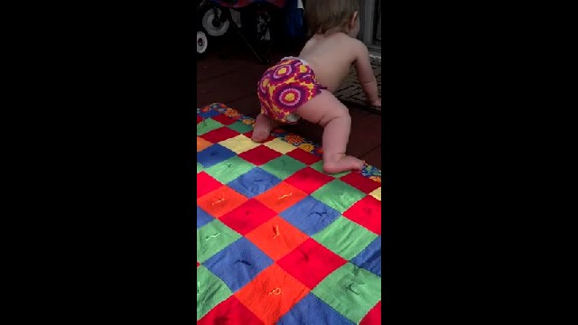 Mom Tells Baby Daughter To Stand Up, She Gladly Obliges