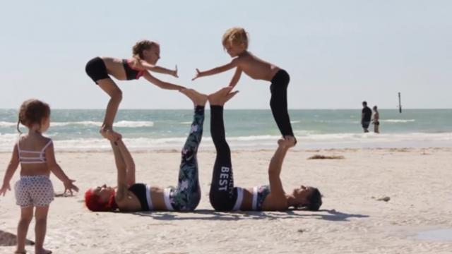 Fitness Mum Works Out With Kids