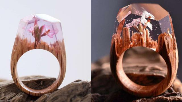 Canadian guy makes up the elaborate wooden rings that everyone